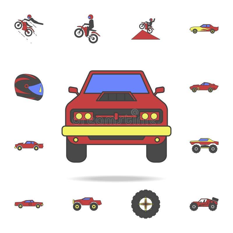 coloricon avant de gisement de voiture de muscle Ensemble détaillé de grandes icônes de voiture de pied de couleur Conception gra illustration de vecteur