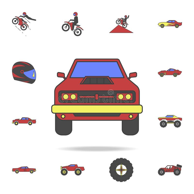 coloricon för fält för muskelbil främre Detaljerad uppsättning av för fotbil för färg stora symboler Högvärdig grafisk design En  vektor illustrationer