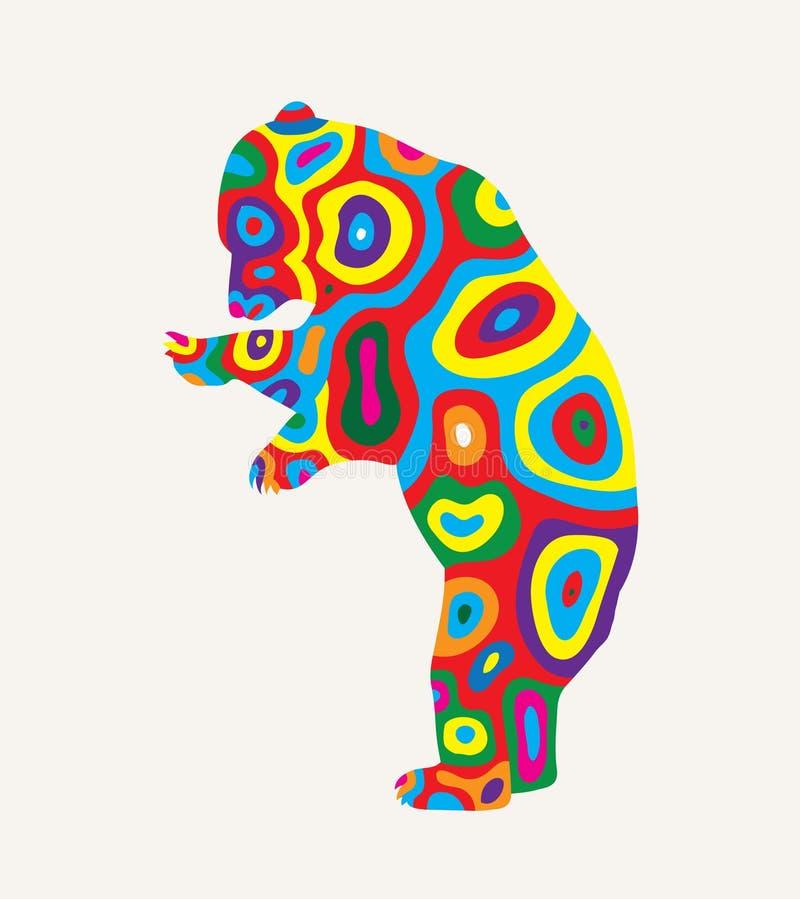 Coloridamente urso, projeto do vetor da arte ilustração royalty free