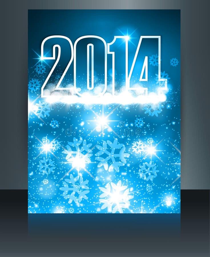 Colorido azul de la plantilla de la celebración de la Feliz Año Nuevo 2014  libre illustration