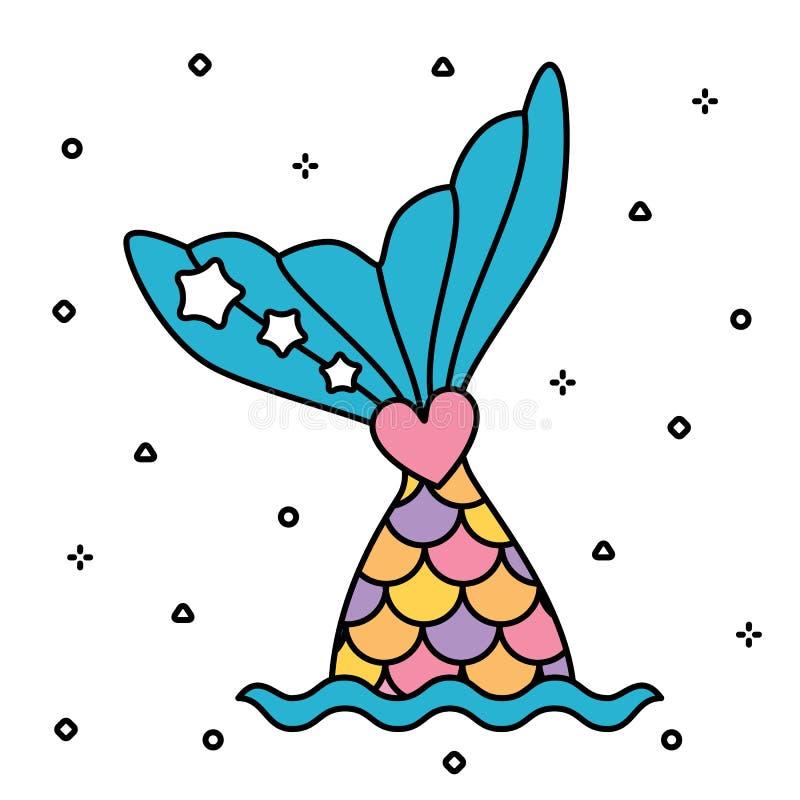 Colorido bonito da cauda pastel da sereia do arco-íris isolado ilustração stock