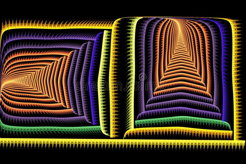 Colorido brilhante do fractal quadrado abstrato no preto ilustração stock