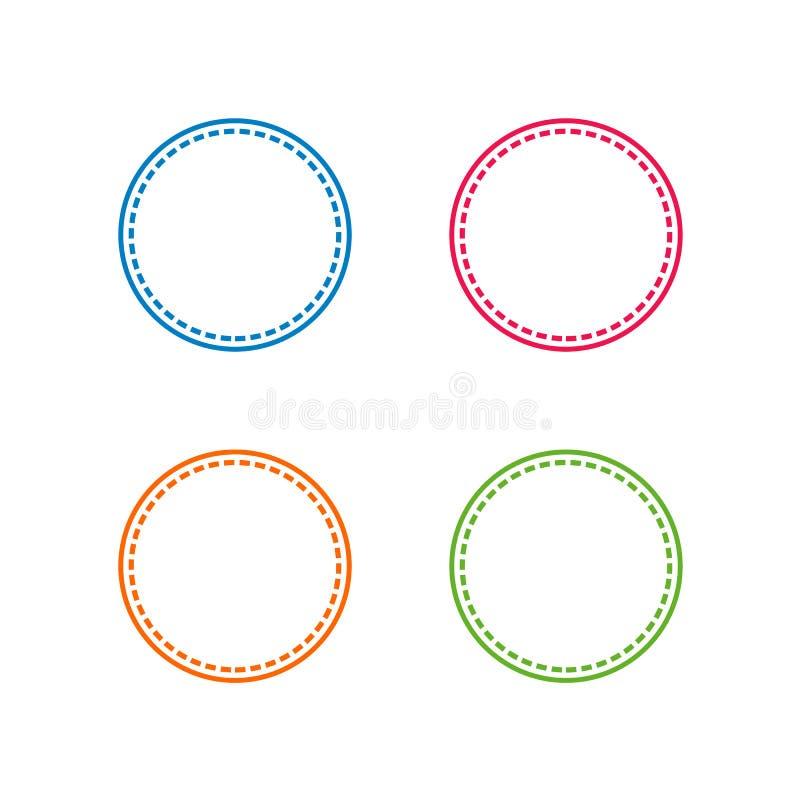 Colorido costurado com forma do círculo, quadro do vetor ou ilustrações da beira ilustração stock