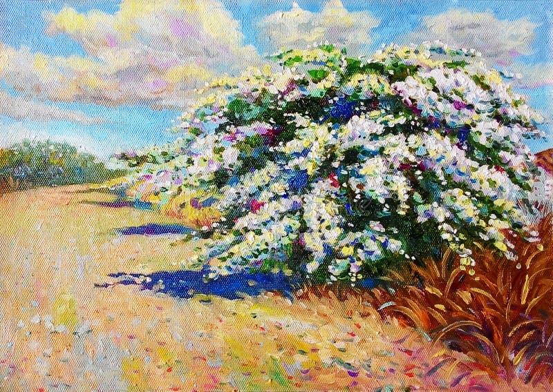 Colorido de árbol y de la emoción de la flor de papel en azul stock de ilustración