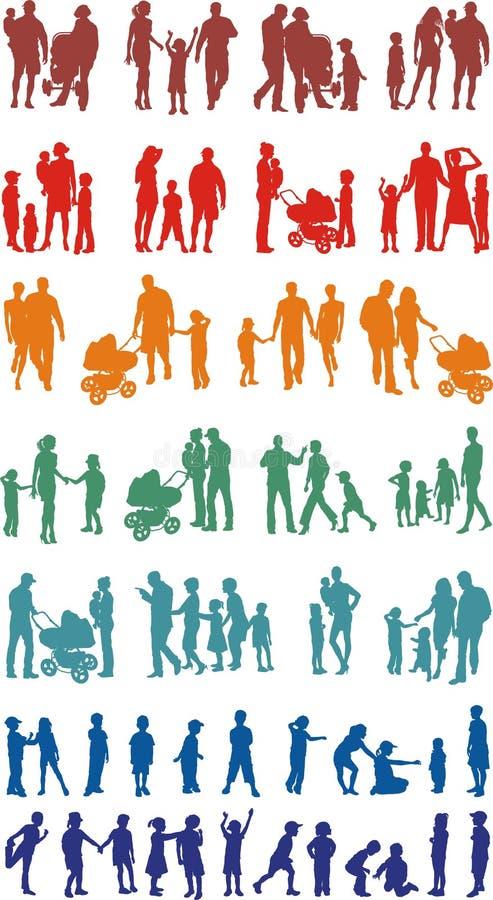 Colorido de la familia silueteado (vectores) stock de ilustración