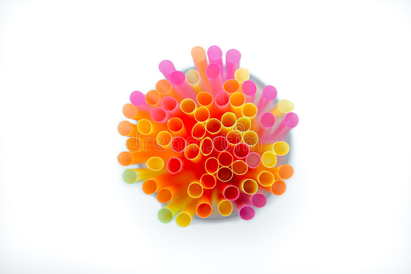 Colorido de la paja Plástico coloreado multi fotos de archivo libres de regalías