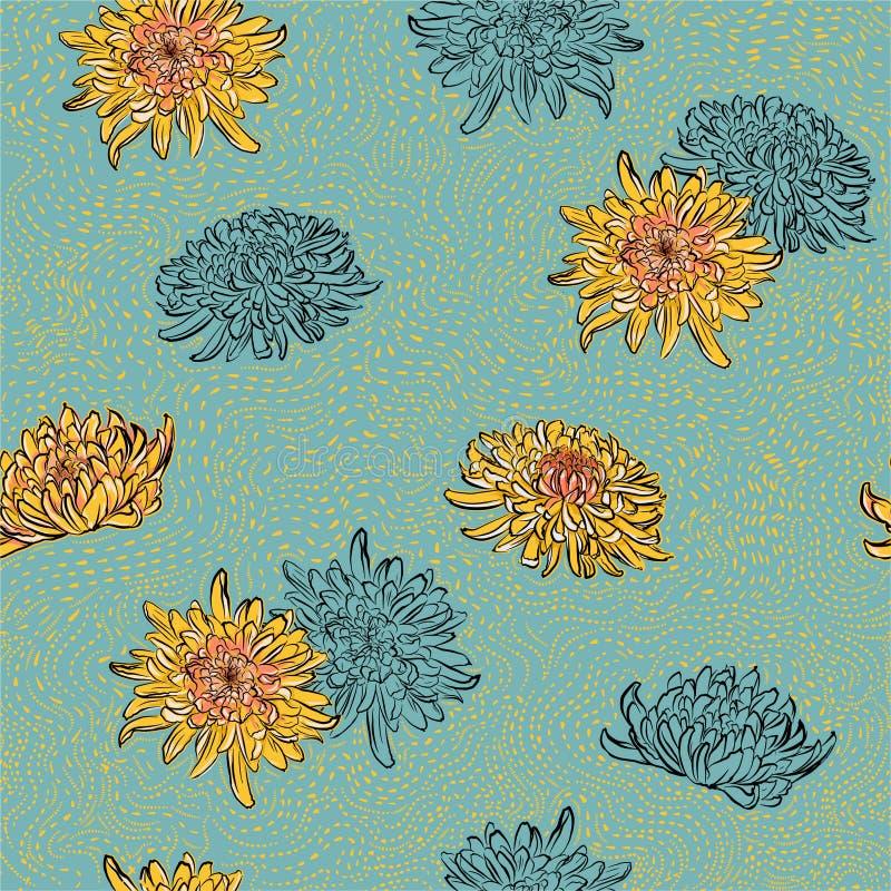 Colorido de las flores florecientes orientales del verano del verano brillante del crisantemo con la línea exhausta vector incons imagen de archivo