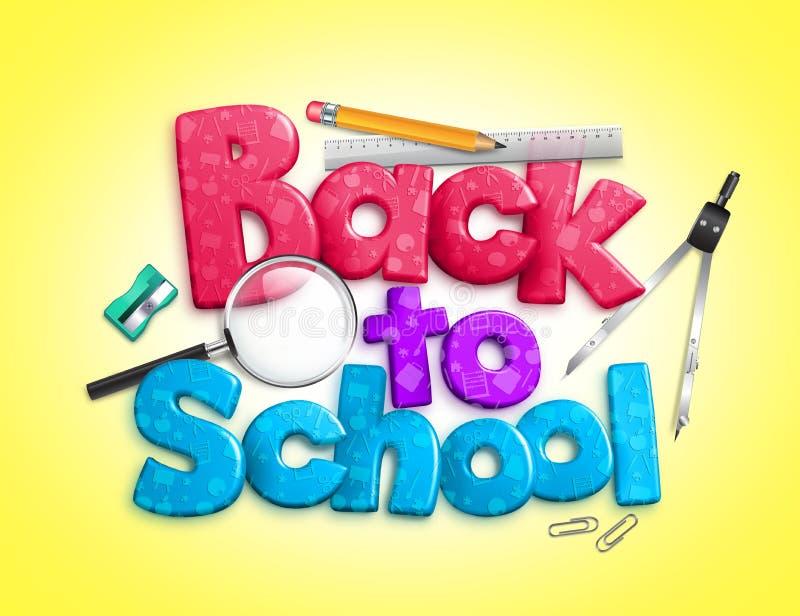 Colorido de nuevo al texto dimensional 3d/3 de la escuela stock de ilustración
