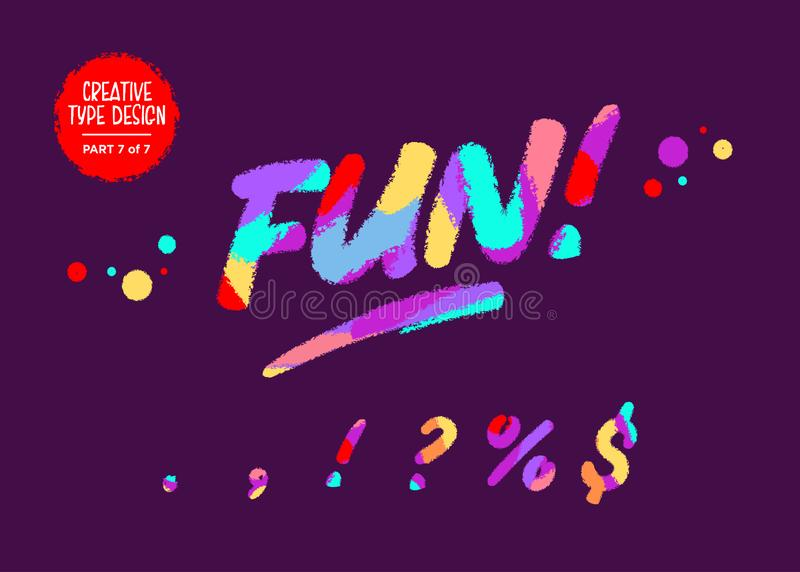 Colorido del vector compuesto tipo Fuente de los niños en estilo de la historieta Diseño texturizado divertido Fuente manuscrit stock de ilustración