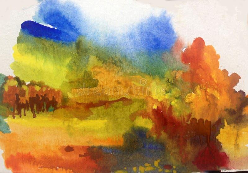 Colorido do outono da paisagem do sumário do fundo da arte da aquarela textured ilustração do vetor