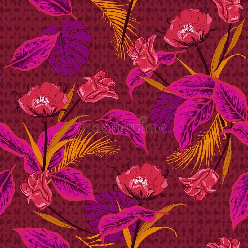 Colorido en la flor salvaje y los tulipanes tropicales, ju del tono rojo de las hojas ilustración del vector