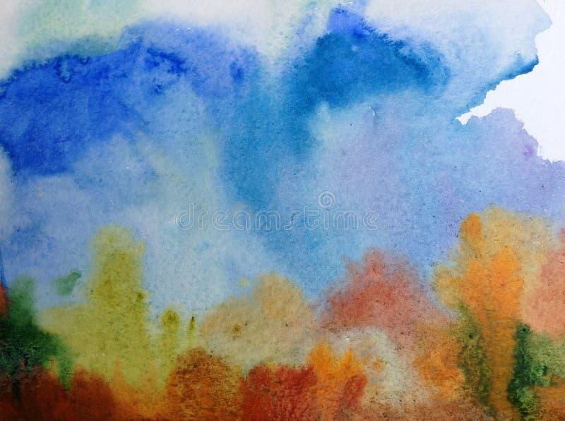 Colorido exterior azul da paisagem da floresta do céu do outono do marrom do fundo da arte da aquarela textured ilustração do vetor