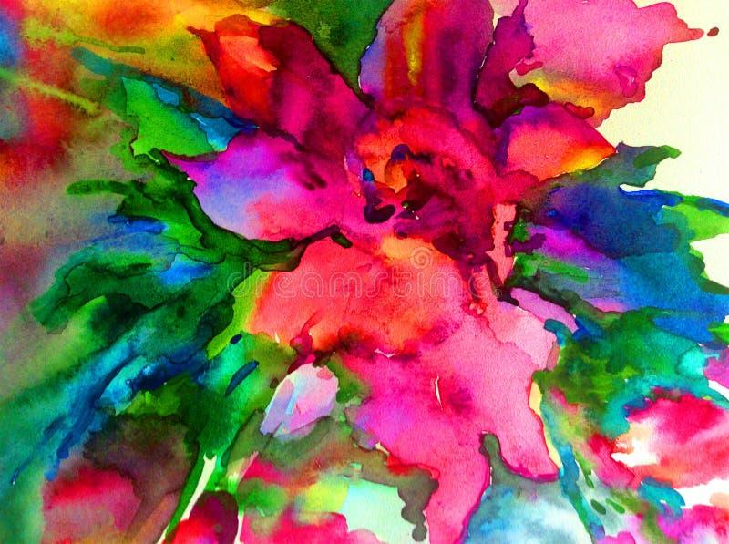 Colorido floral mágico de la primavera de la flor amarilla hermosa del extracto del fondo del arte de la acuarela texturizado ilustración del vector