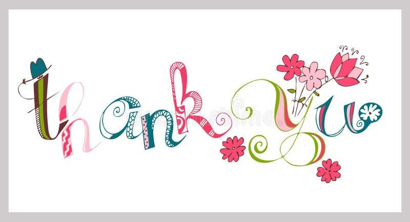 Colorido gracias dar las letras Caligrafía hecha a mano ilustración del vector