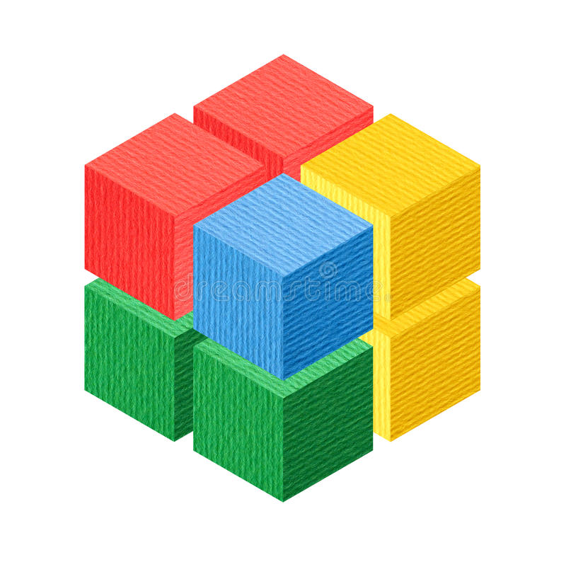 Colorido isométrico del cubo fotos de archivo