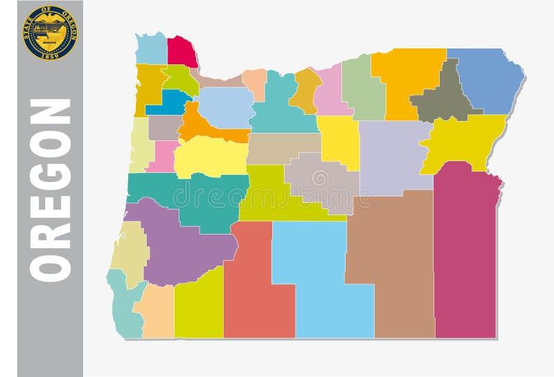 Colorido mapa administrativo e político do vetor de nós estado federal oregon com selo ilustração royalty free