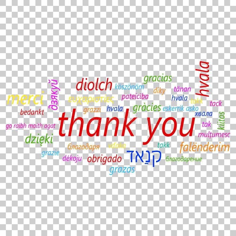 Colorido obrigado no ícone do vetor de muitas línguas Global agradeça a y ilustração royalty free