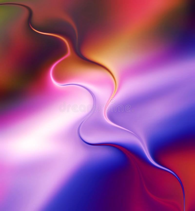 Colorido, ondulado e borr?o com 3 d e efeito da luz gerado por computador para o fundo e o projeto do papel de parede ilustração stock