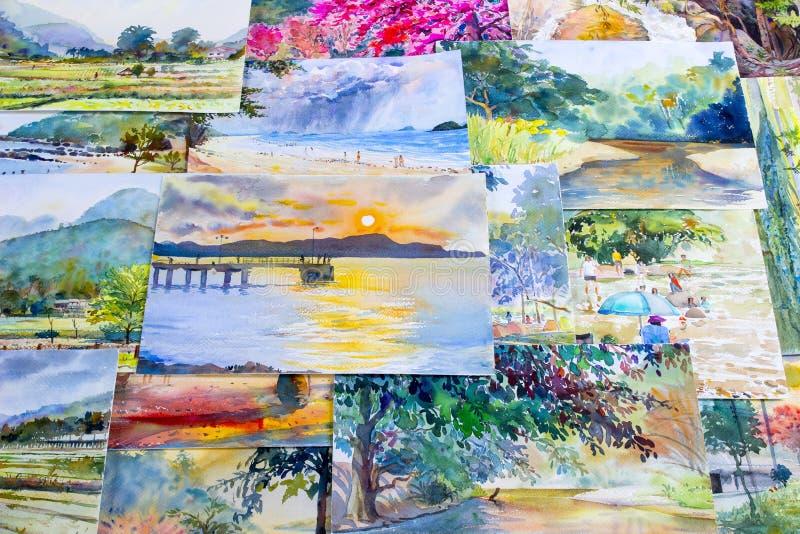 Colorido original da paisagem da aquarela da pintura das memórias ilustração royalty free