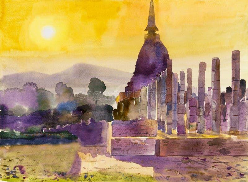 Colorido original da paisagem da aquarela da arte da pintura do local arqueológico ilustração royalty free