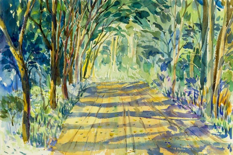 Colorido original da paisagem da aquarela da pintura de árvores do túnel ilustração royalty free