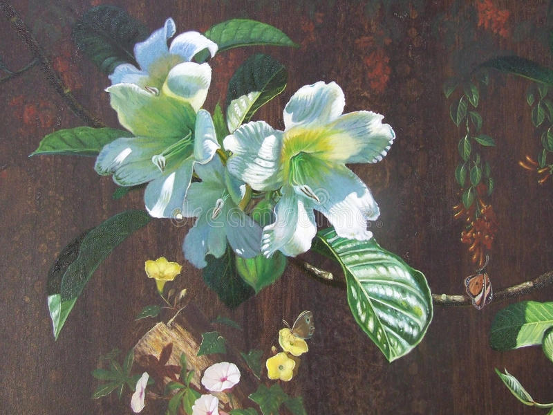 Colorido original da paisagem da cor de óleo da pintura da flor de trombeta do arauto ilustração royalty free