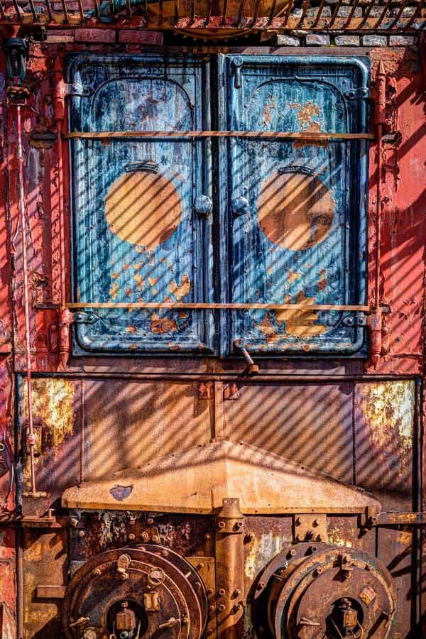 Colorido, oxidando, caldeiras do óleo de baleia na ilha do sul Geórgia TIF imagem de stock