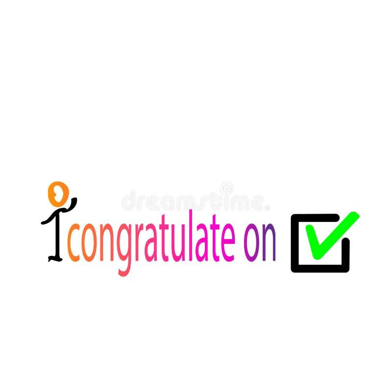 Colorido para felicitar por la opción Símbolo del icono de la señal, marca de cotejo verde aislada en el fondo blanco, icono comp stock de ilustración