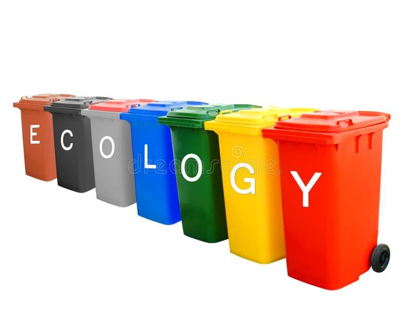 Colorido recicl escaninhos com conceito do fraseio da ecologia imagens de stock