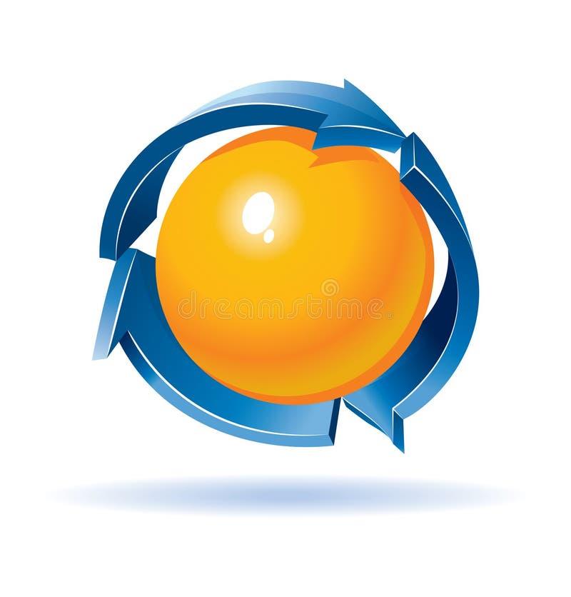 Colorido recicl o símbolo com esfera para dentro ilustração do vetor