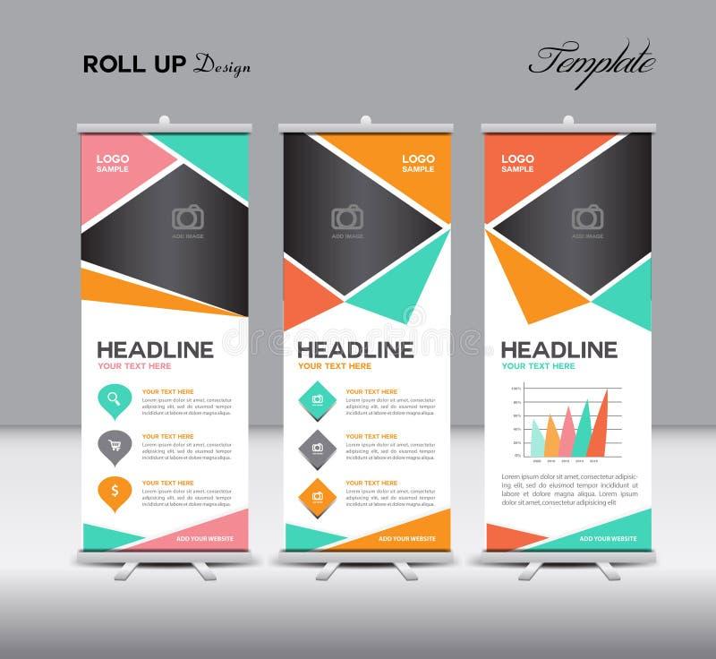 Colorido ruede para arriba el soporte de la bandera y los gráficos de la información vector el ejemplo stock de ilustración