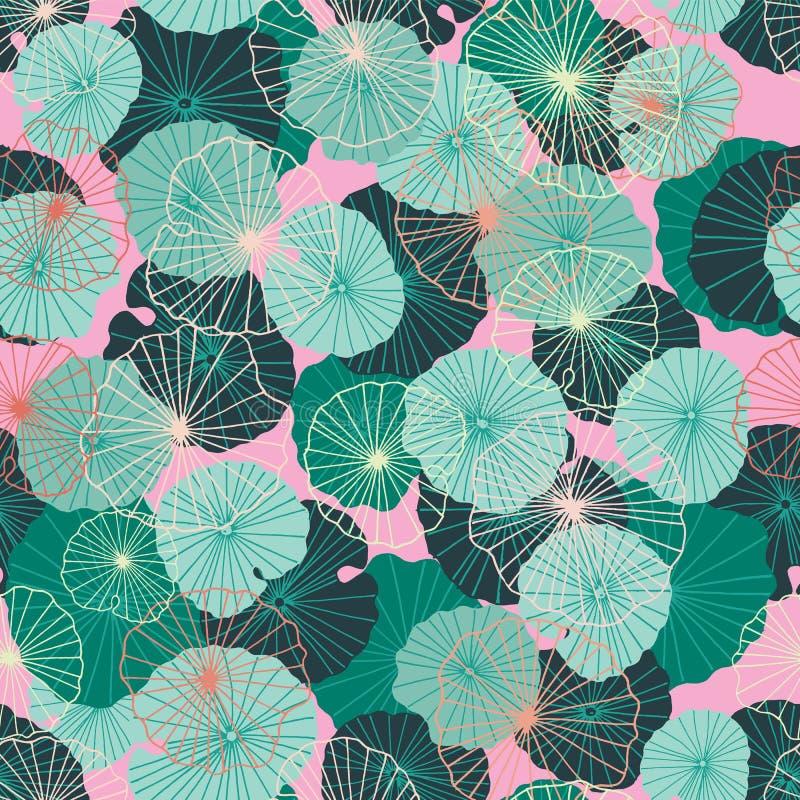 Colorido sae waterlily em um estilo tropical, exótico Teste padrão ou fundo sem emenda do vetor ilustração do vetor