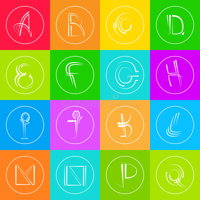 Colorido simple abstracto de Logo Icons Set Thin Line stock de ilustración