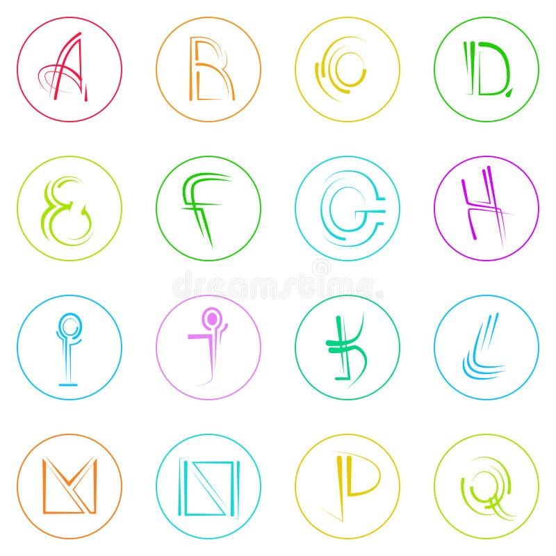 Colorido simples abstrato de Logo Icons Set Thin Line ilustração do vetor