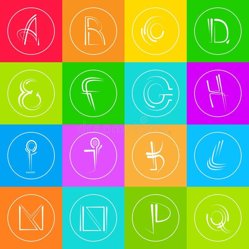 Colorido simples abstrato de Logo Icons Set Thin Line ilustração stock