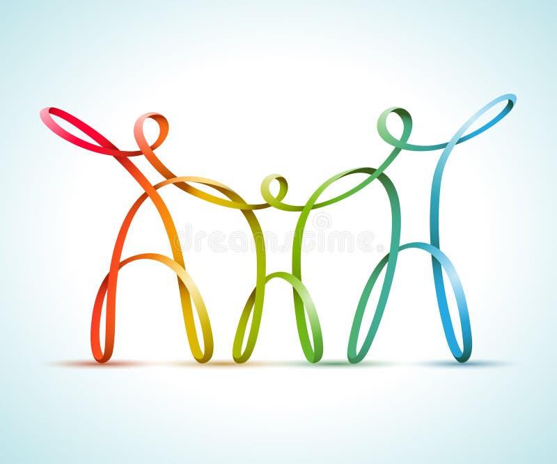 Colorido swirly figura a la familia libre illustration