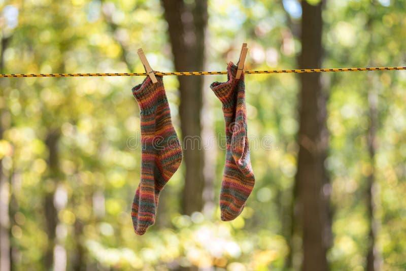 Colorido tricote manualmente as peúgas que penduram para secar na corda fotos de stock
