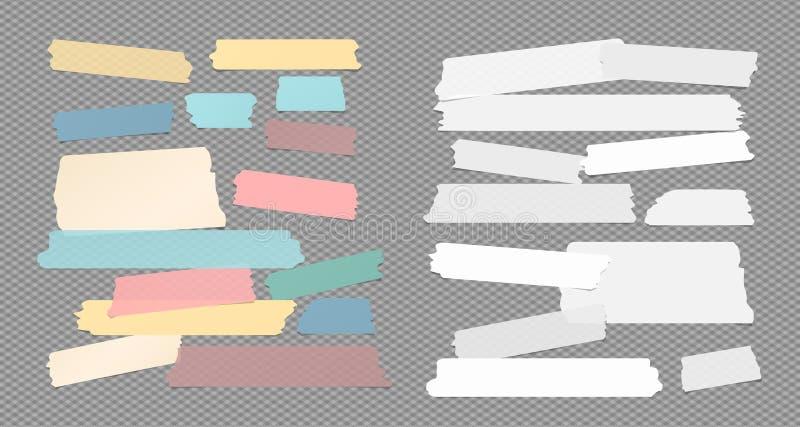 Colorido y blanco rasgó la cinta adhesiva pegajosa, adhesiva, tiras de papel de nota pegadas en fondo gris ajustado stock de ilustración