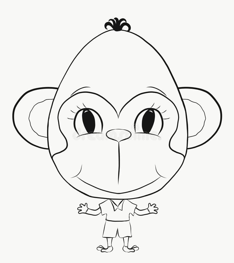 Colorindo, menino pequeno, engraçado do macaco
