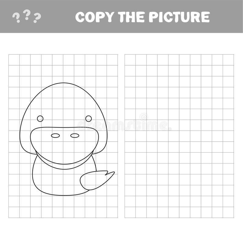 Colorindo o pato bonito dos desenhos animados Jogo educacional para crian?as Ilustra??o do vetor ilustração royalty free