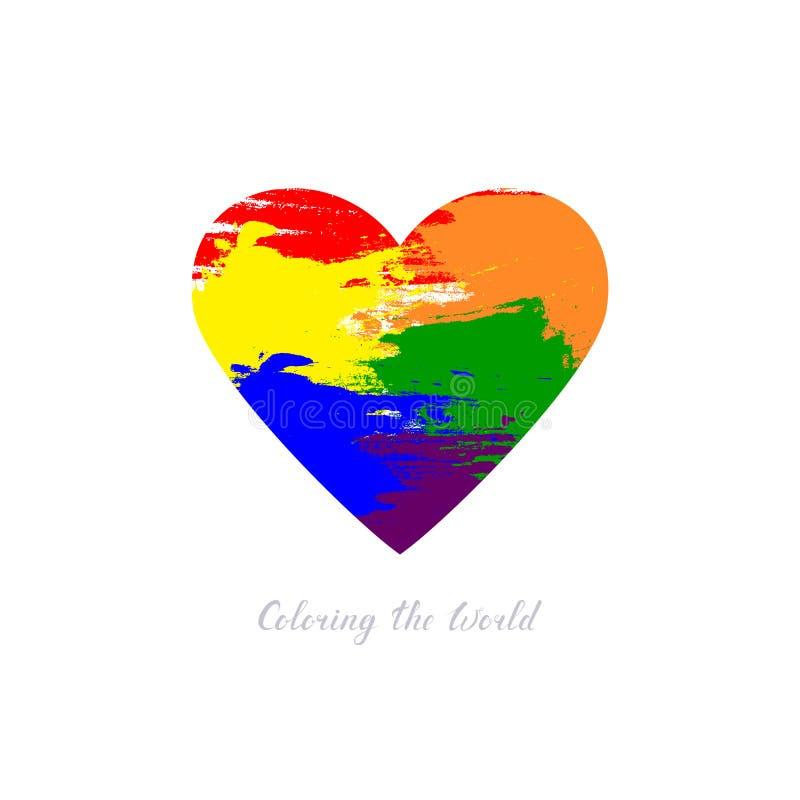 Colorindo o texto do mundo forma do coração do vetor com os pontos da cor do estilo do grunge Conceito do amor projeto simples da ilustração stock