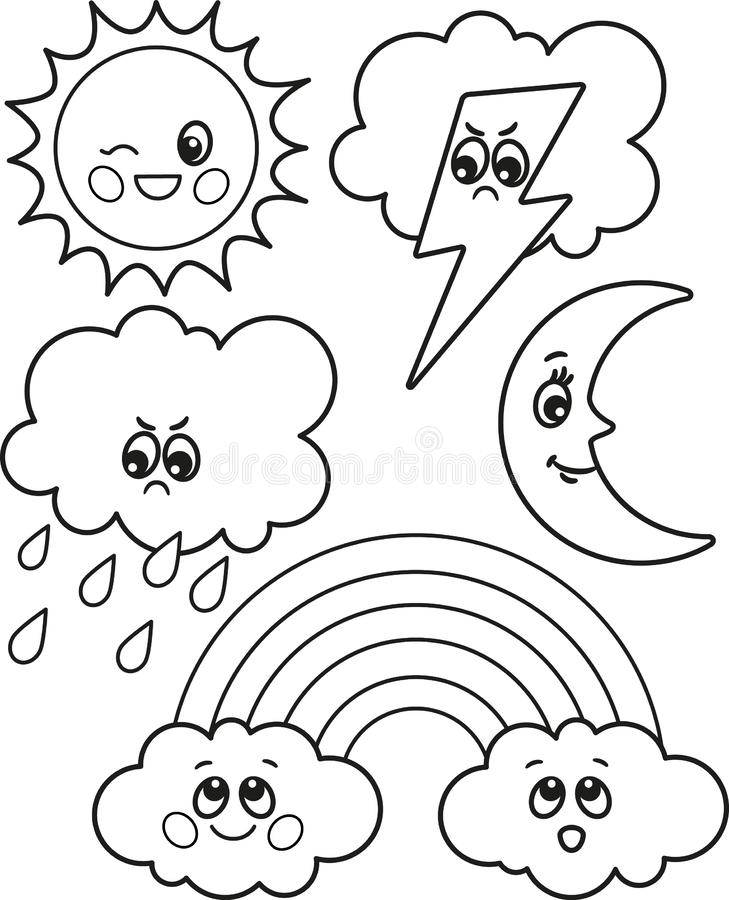 Cute set of cartoon weather icons, vector black and white icons, illustrations for children`s coloring or creativity stock illustration
