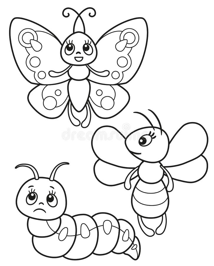 Cute set of funny insects, vector black and white illustrations butterfly, bee and caterpillar for children`s coloring or creativi vector illustration