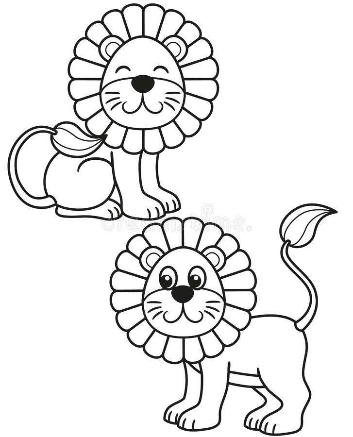 Cute set of cartoon lion, vector black and white illustrations for children`s coloring or creativity stock illustration