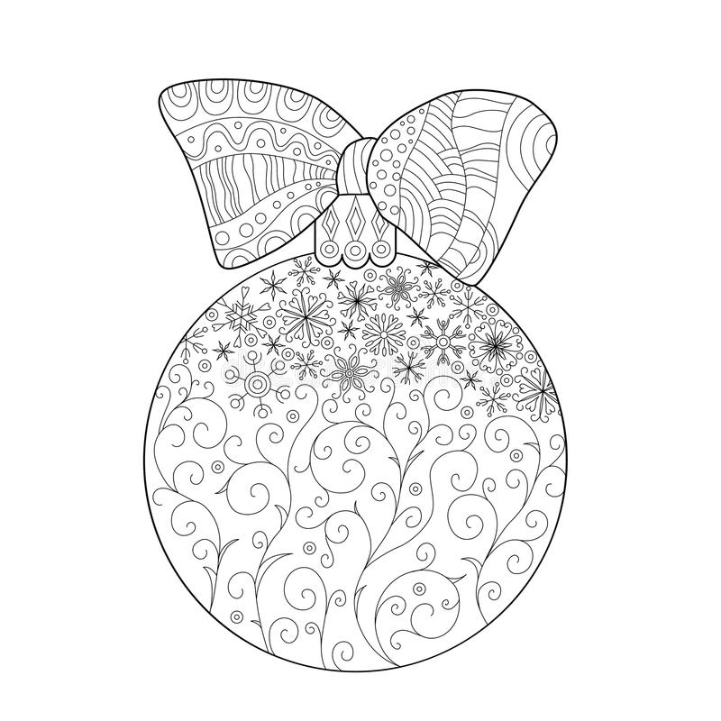 Coloring for adults, Christmas ball on fir branch,. Zentangle design for coloring book for adult, Anti stress Coloring Page royalty free illustration
