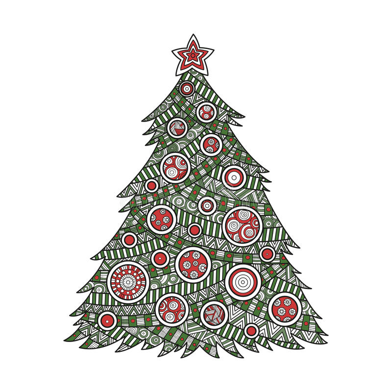 Coloring for adults Christmas tree stock images
