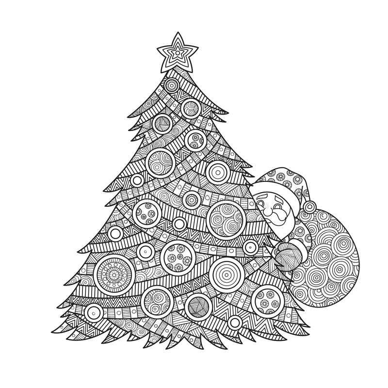 Coloring for adults Christmas tree stock photos
