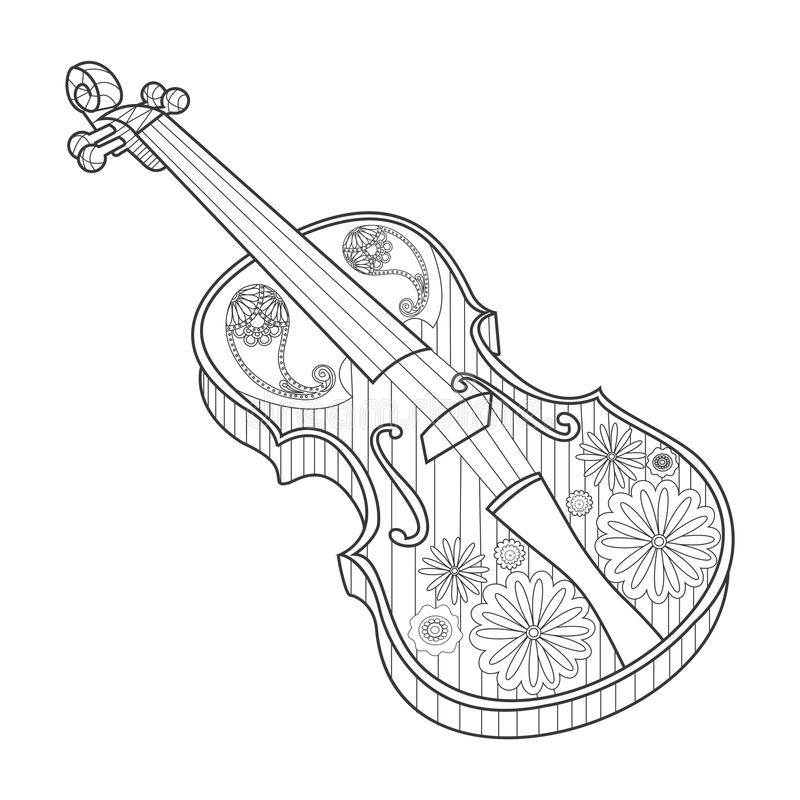 Coloring for adults violin vector illustration vector illustration