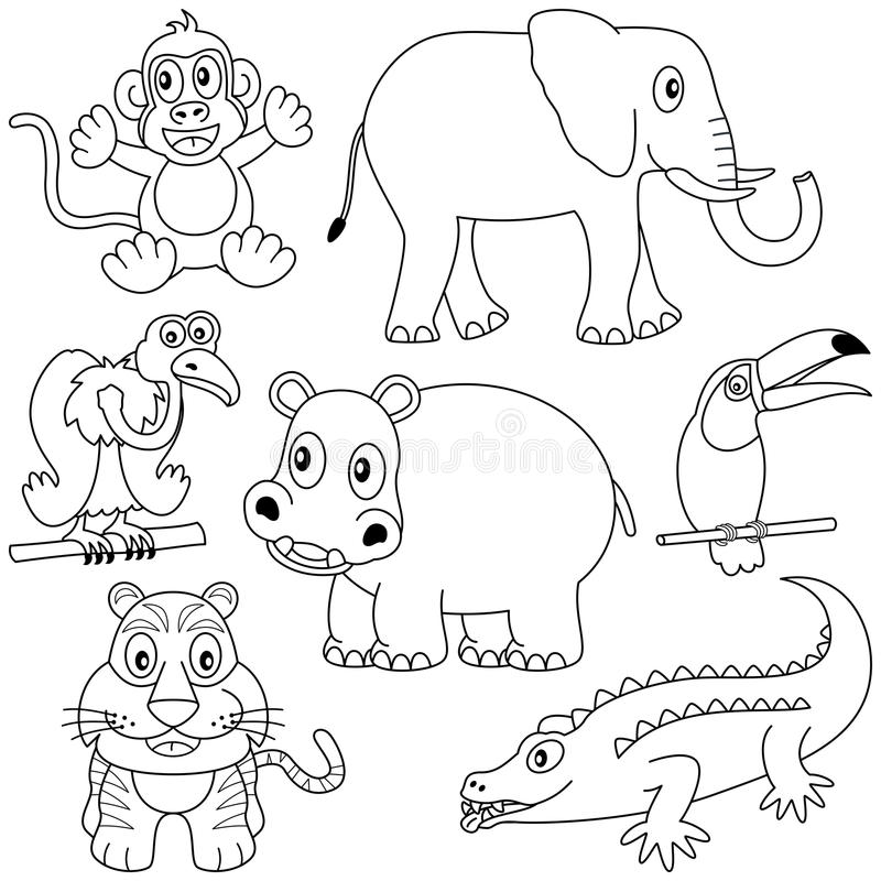 Coloring African Animals [2]. Collection of seven funny cartoon african animals (monkey, elephant, vulture, hippopotamus, toucan, tiger, crocodile), black and royalty free illustration