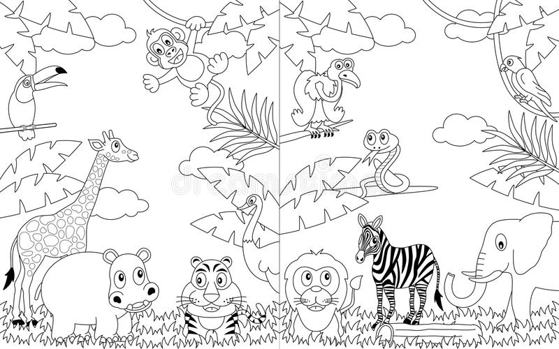 Coloring African Landscapes [2]. Two funny cartoon scenes with african animals in the savanna, black and white version. Useful also for educational or colouring stock illustration